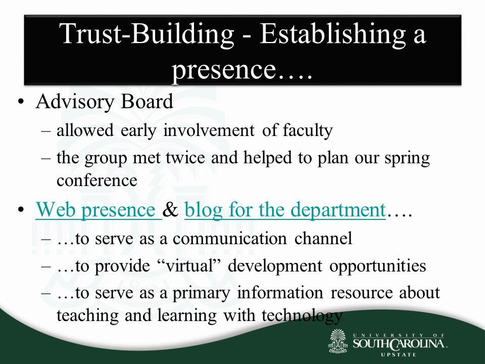 Trust-Building - Establishing a presence….