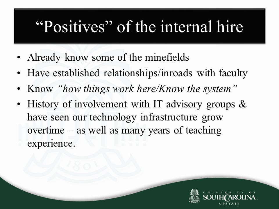 Positives of the internal hire Already know some of the minefields Have established relationships/inroads with faculty Know how things work here/Know the system History of involvement with IT advisory groups & have seen our technology infrastructure grow overtime – as well as many years of teaching experience.