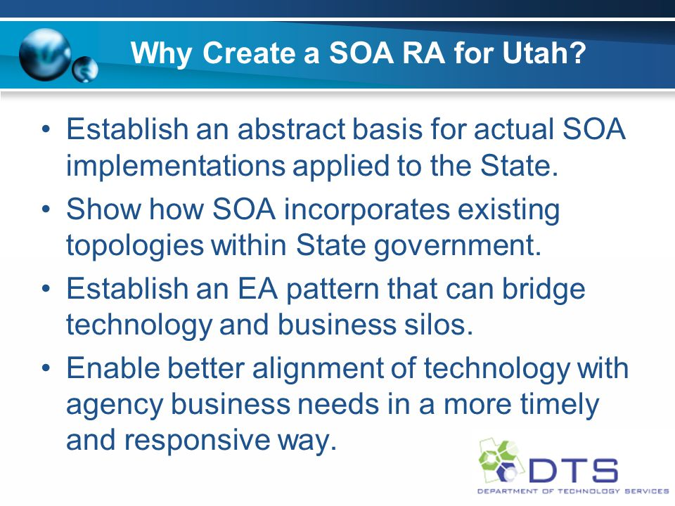 Why Create a SOA RA for Utah.