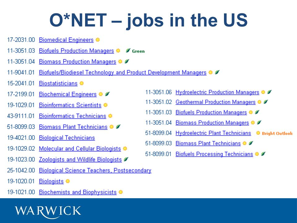 O*NET – jobs in the US