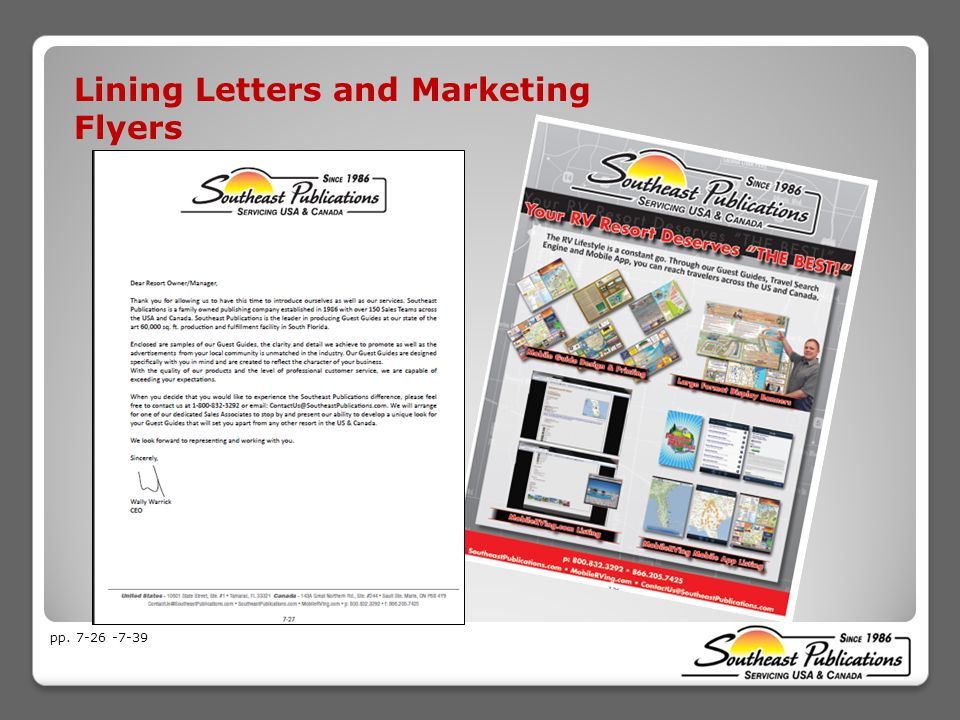 Lining Letters and Marketing Flyers pp. 7-26 -7-39