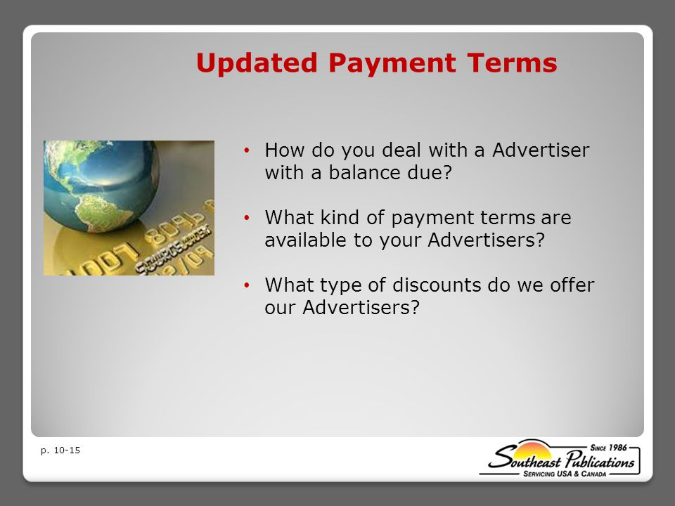 Updated Payment Terms How do you deal with a Advertiser with a balance due.