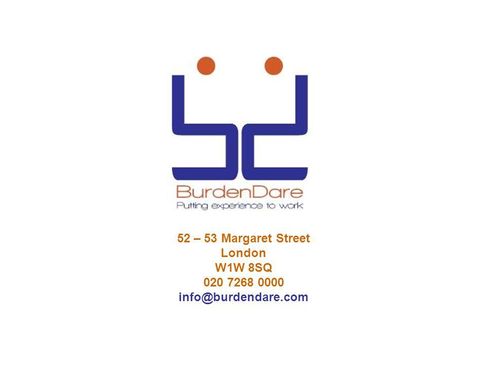 52 – 53 Margaret Street London W1W 8SQ 020 7268 0000 info@burdendare.com