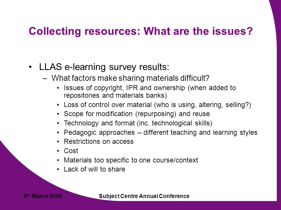 8 th March 2006Subject Centre Annual Conference Collecting resources: What are the issues.