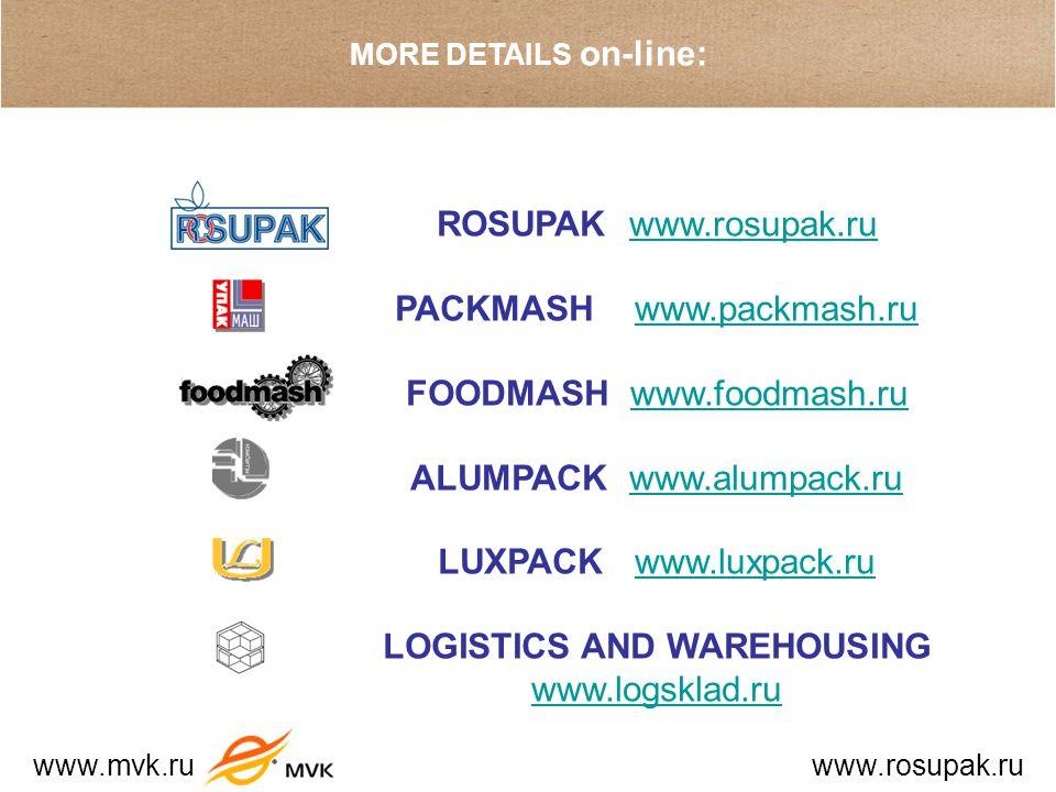 MORE DETAILS on-line: ROSUPAK www.rosupak.ruwww.rosupak.ru PACKMASH www.packmash.ruwww.packmash.ru FOODMASH www.foodmash.ruwww.foodmash.ru ALUMPACK www.alumpack.ruwww.alumpack.ru LUXPACK www.luxpack.ruwww.luxpack.ru LOGISTICS AND WAREHOUSING www.logsklad.ru www.logsklad.ru www.mvk.ru www.rosupak.ru