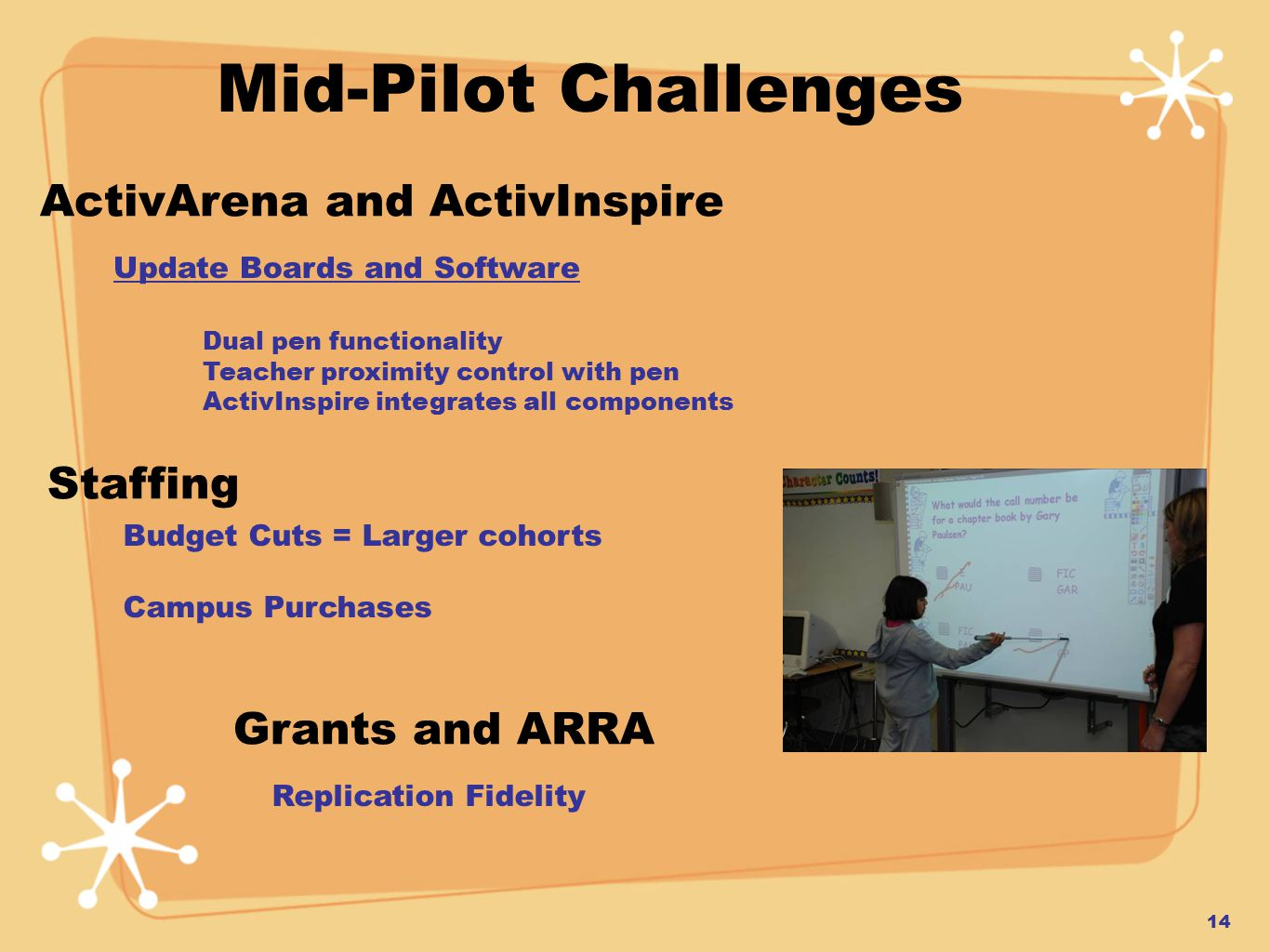 ActivArena and ActivInspire Update Boards and Software Dual pen functionality Teacher proximity control with pen ActivInspire integrates all components Staffing Budget Cuts = Larger cohorts Campus Purchases Mid-Pilot Challenges 14 Grants and ARRA Replication Fidelity
