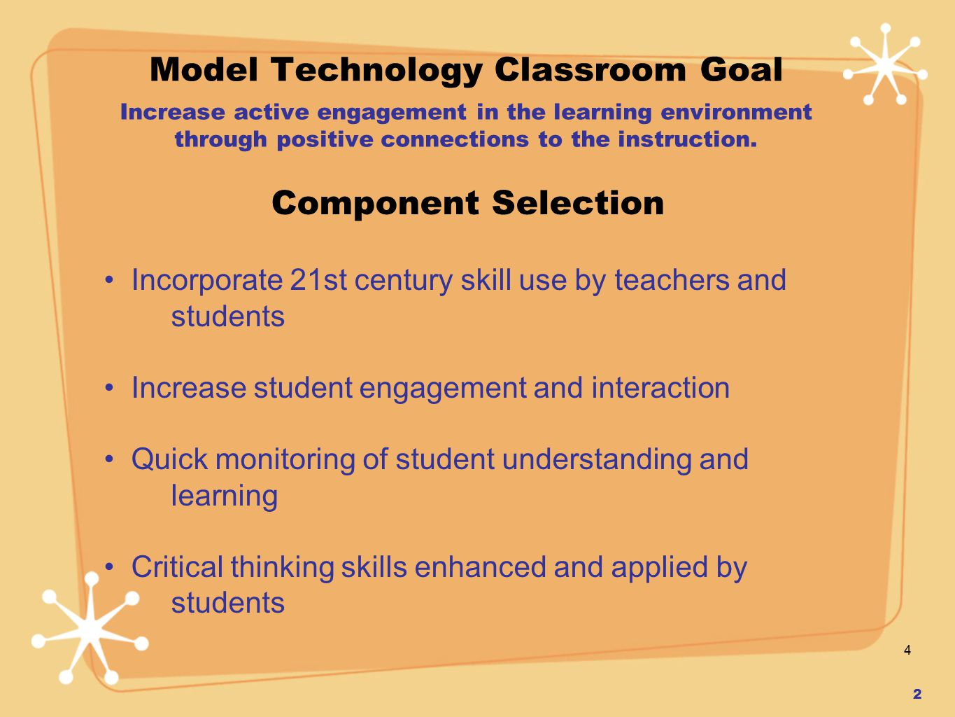 4 Model Technology Classroom Goal Increase active engagement in the learning environment through positive connections to the instruction.