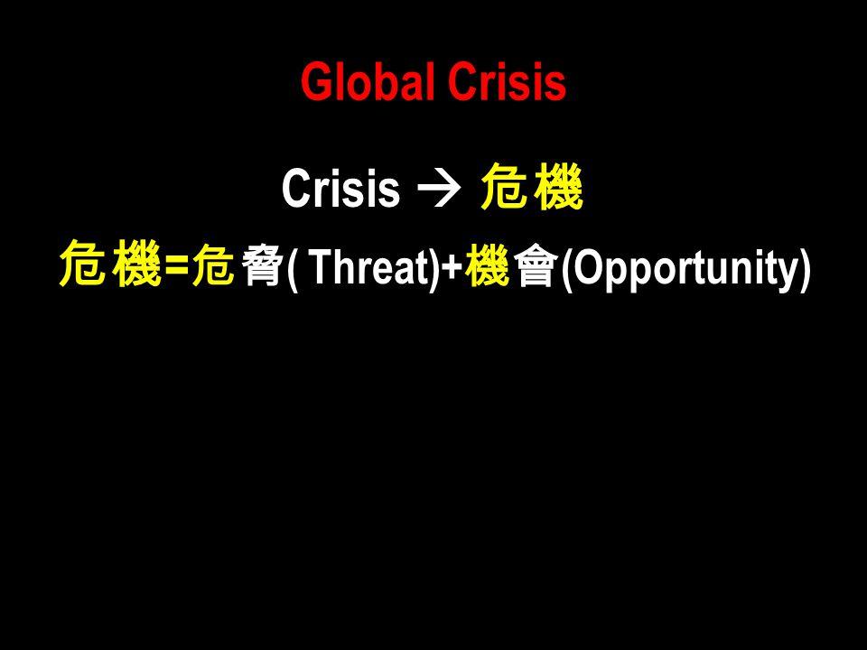 Global Crisis Crisis  危機 危機 = 危脅 ( Threat)+ 機會 (Opportunity)