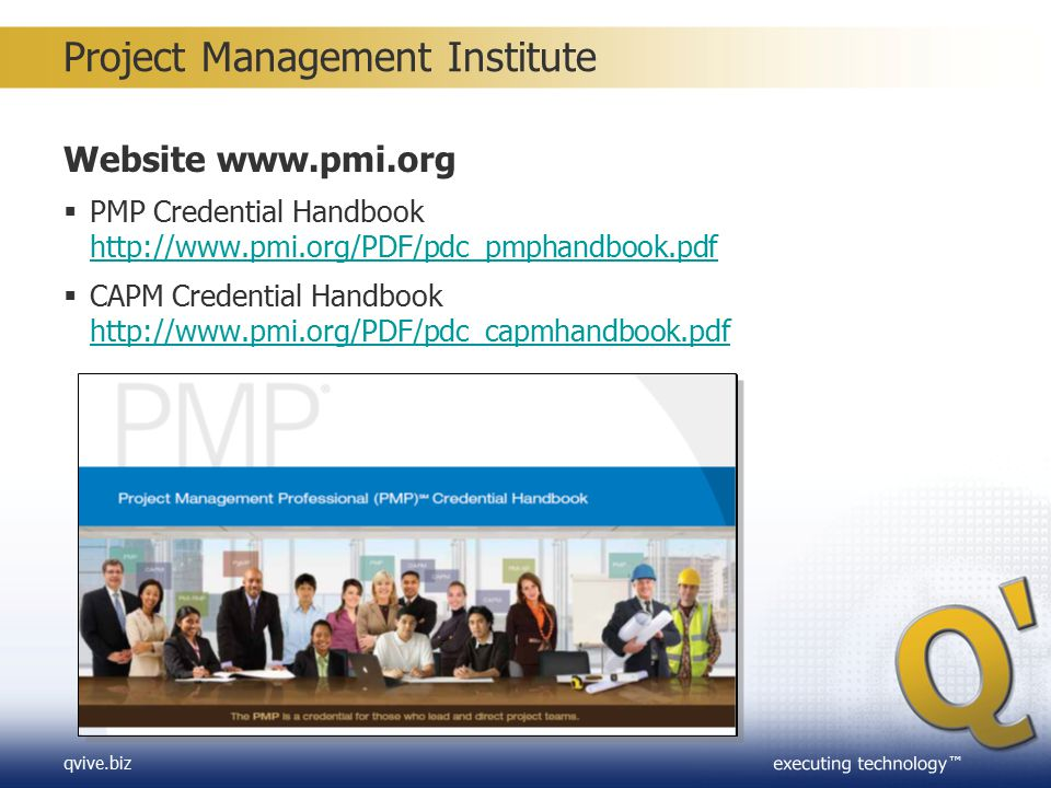 ™ qvive.biz Project Management Experience  PMP (Bachelor's degree or global equivalent) Minimum three years/36 months unique non-overlapping professional project management experience during which at least 4,500 hours were spent leading and directing project tasks*  PMP (High school diploma, Associates degree) Minimum five years/60 months unique non-overlapping professional project management experience during which at least 7,500 hours were spent leading and directing project tasks*  CAPM (High school diploma) see Education Hours (next slide) * Leading and directing project tasks as identified in the Project Management Professional Examination Specification.