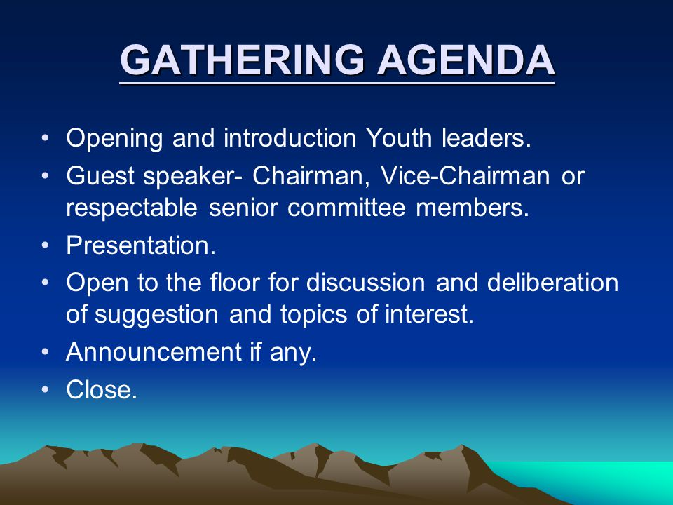 GATHERING AGENDA Opening and introduction Youth leaders.