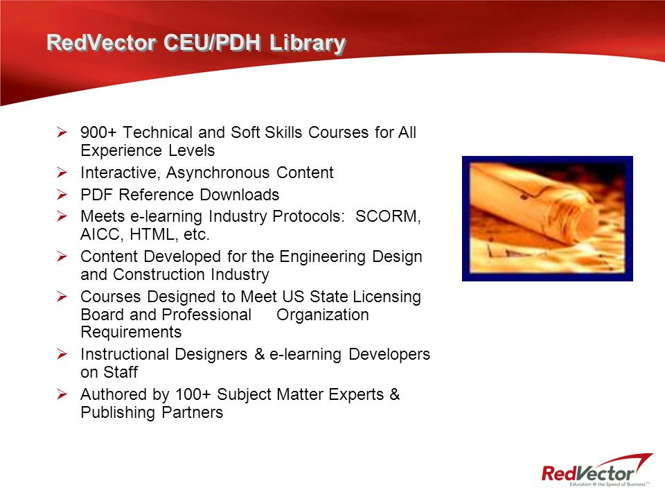 RedVector CEU/PDH Library  900+ Technical and Soft Skills Courses for All Experience Levels  Interactive, Asynchronous Content  PDF Reference Downl