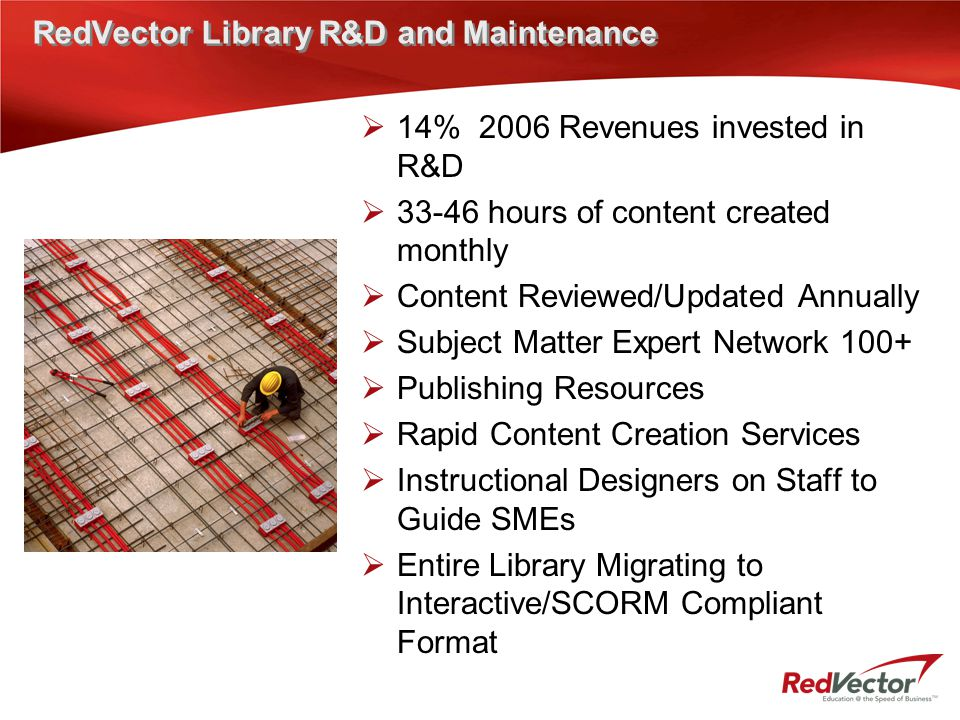 RedVector Library R&D and Maintenance  14% 2006 Revenues invested in R&D  33-46 hours of content created monthly  Content Reviewed/Updated Annually