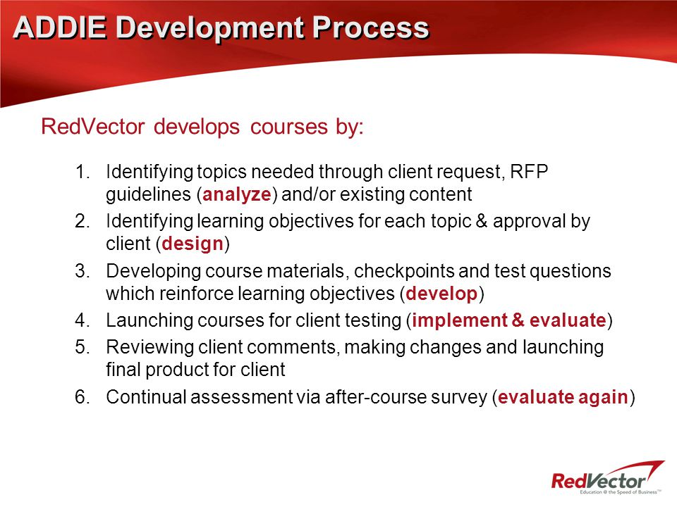 ADDIE Development Process RedVector develops courses by: 1.Identifying topics needed through client request, RFP guidelines (analyze) and/or existing content 2.Identifying learning objectives for each topic & approval by client (design) 3.Developing course materials, checkpoints and test questions which reinforce learning objectives (develop) 4.Launching courses for client testing (implement & evaluate) 5.Reviewing client comments, making changes and launching final product for client 6.Continual assessment via after-course survey (evaluate again)