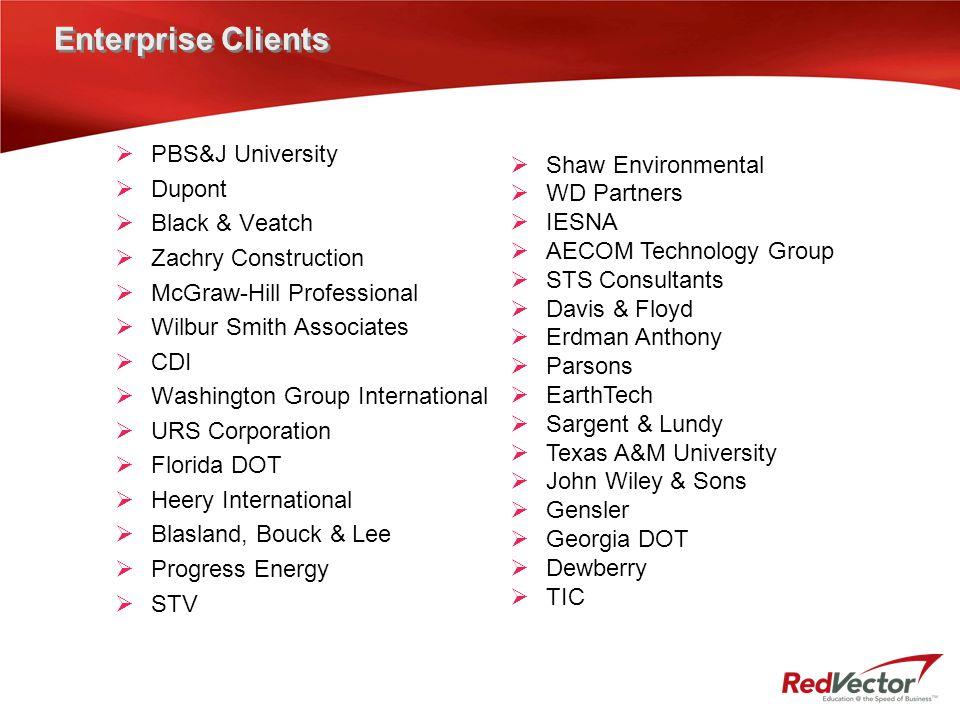 Enterprise Clients  PBS&J University  Dupont  Black & Veatch  Zachry Construction  McGraw-Hill Professional  Wilbur Smith Associates  CDI  Was