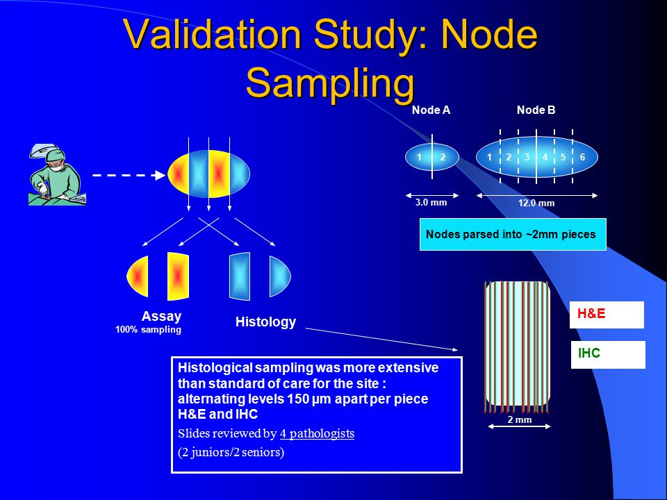 Validation Study: Node Sampling 3.0 mm 6 12.0 mm Node ANode B 1212345 Nodes parsed into ~2mm pieces 2 mm Histological sampling was more extensive than standard of care for the site : alternating levels 150 µm apart per piece H&E and IHC Slides reviewed by 4 pathologists (2 juniors/2 seniors) Assay 100% sampling Histology H&E IHC