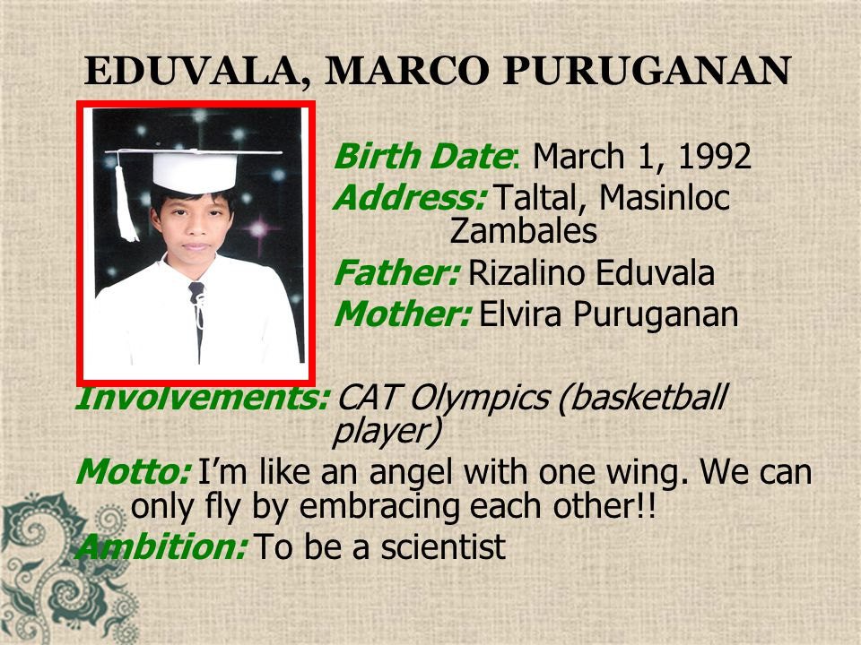 EGIA, NICOLO GABRIEL CAPUNO Birth Date: July 16, 1991 Address: #84 Sta.