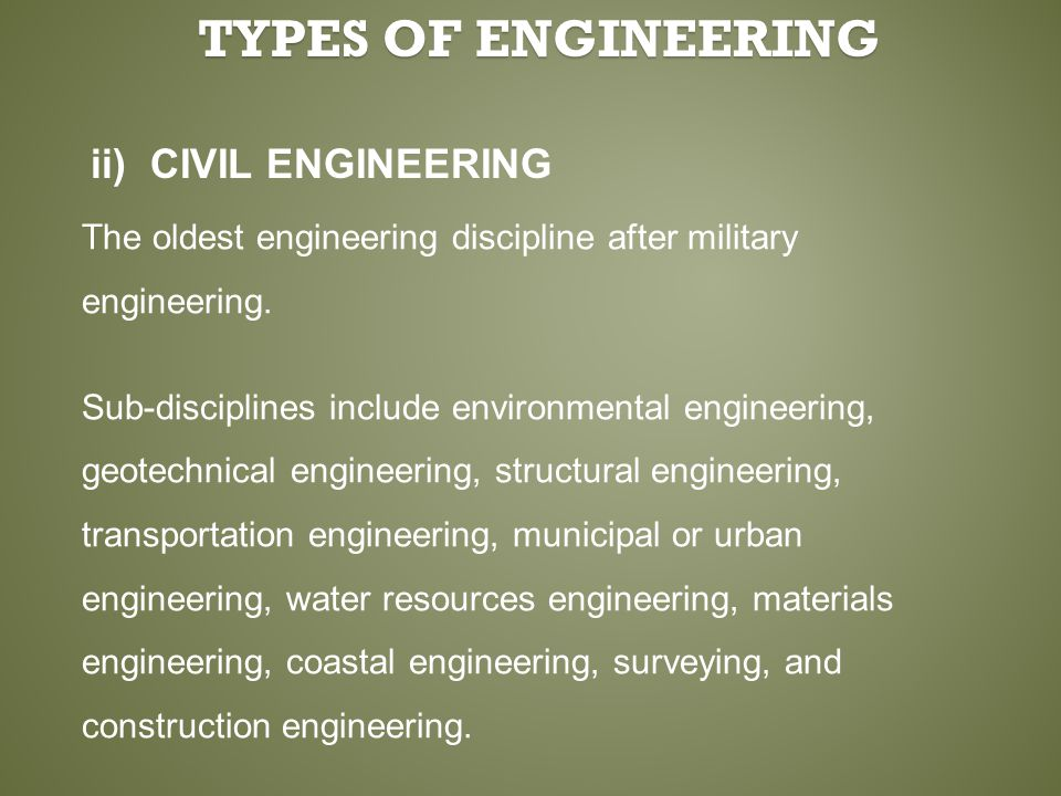 ii) CIVIL ENGINEERING The oldest engineering discipline after military engineering. Sub-disciplines include environmental engineering, geotechnical en
