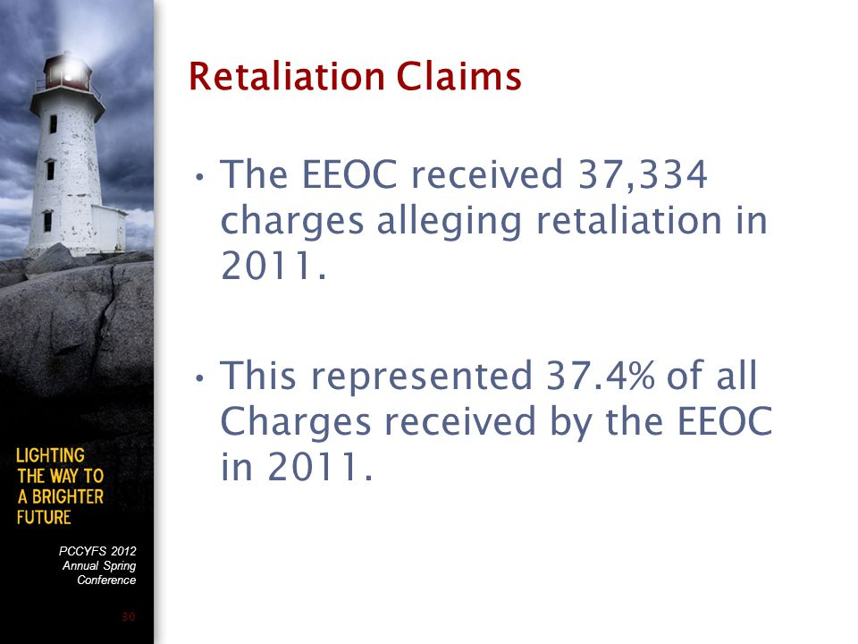 PCCYFS 2012 Annual Spring Conference 30 Retaliation Claims The EEOC received 37,334 charges alleging retaliation in 2011.