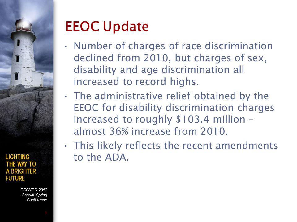 PCCYFS 2012 Annual Spring Conference 4 EEOC Update Number of charges of race discrimination declined from 2010, but charges of sex, disability and age discrimination all increased to record highs.