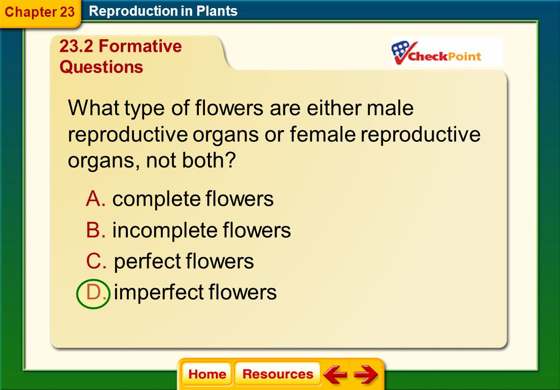 Which is the female reproductive structure of a flower? Reproduction in Plants Chapter 23 23.2 Formative Questions