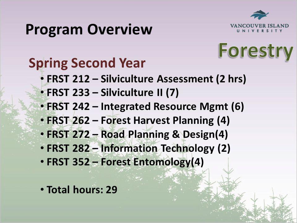 Program Overview Spring Second Year FRST 212 – Silviculture Assessment (2 hrs) FRST 233 – Silviculture II (7) FRST 242 – Integrated Resource Mgmt (6) FRST 262 – Forest Harvest Planning (4) FRST 272 – Road Planning & Design(4) FRST 282 – Information Technology (2) FRST 352 – Forest Entomology(4) Total hours: 29