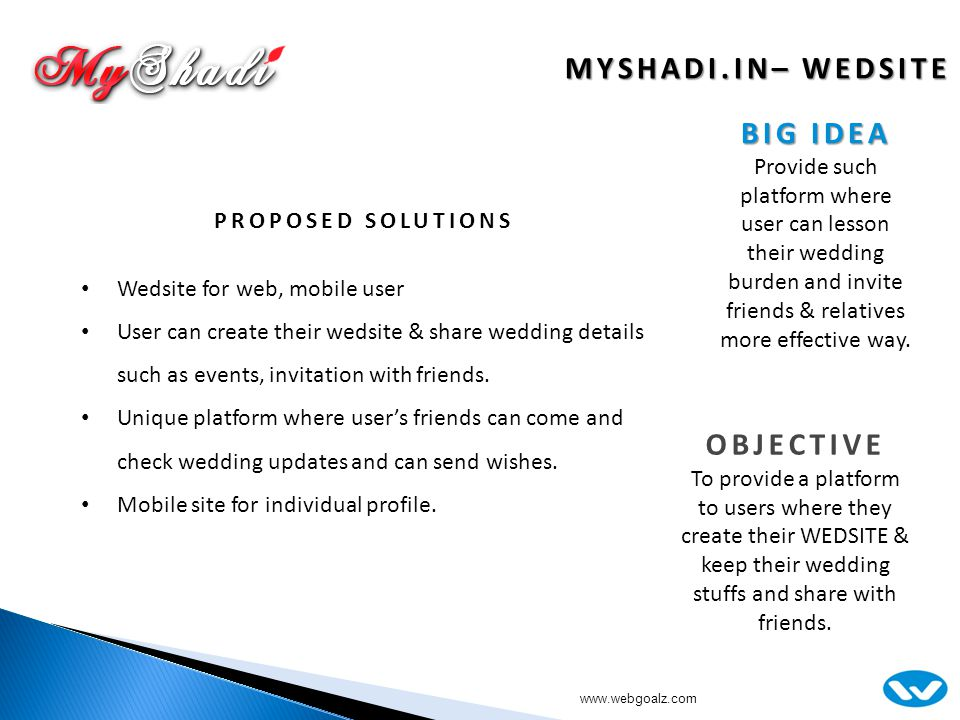 MYSHADI.IN– WEDSITE OBJECTIVE To provide a platform to users where they create their WEDSITE & keep their wedding stuffs and share with friends.