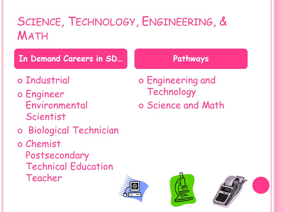 S CIENCE, T ECHNOLOGY, E NGINEERING, & M ATH Industrial Engineer Environmental Scientist Biological Technician Chemist Postsecondary Technical Educati
