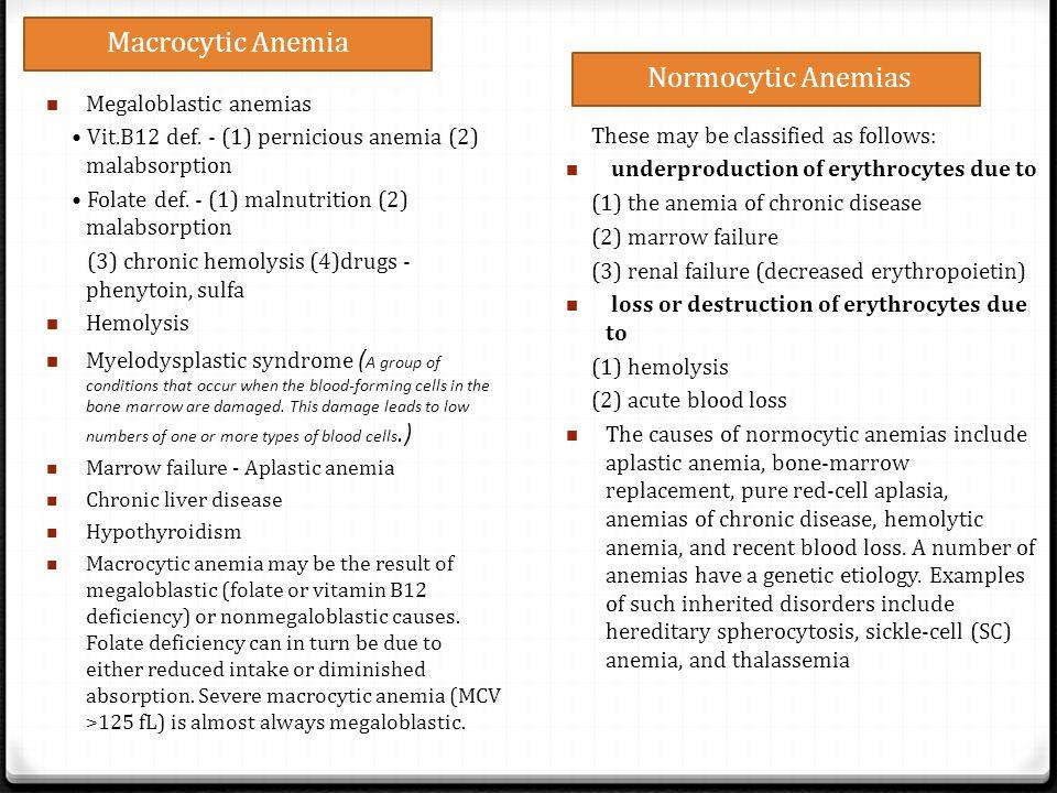 Macrocytic Anemia Normocytic Anemias Megaloblastic anemias Vit.B12 def. - (1) pernicious anemia (2) malabsorption Folate def. - (1) malnutrition (2) m