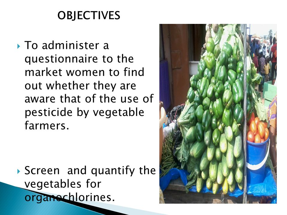OBJECTIVES  To administer a questionnaire to the market women to find out whether they are aware that of the use of pesticide by vegetable farmers.