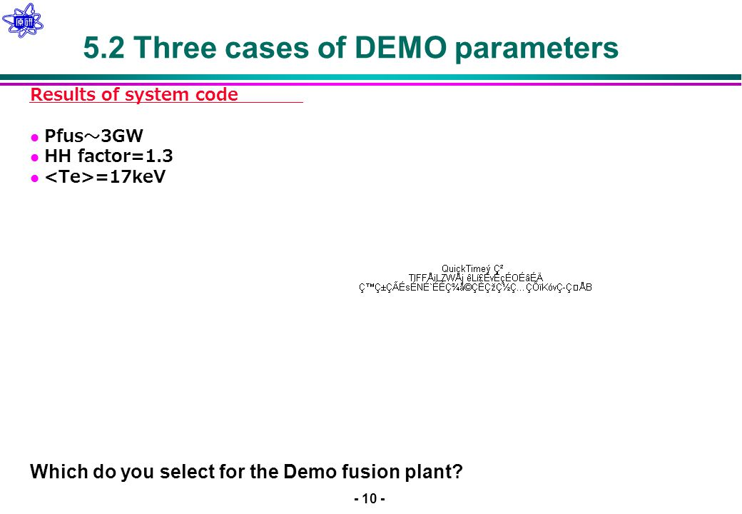 - 10 - 5.2 Three cases of DEMO parameters Results of system code Pfus 〜 3GW HH factor=1.3 =17keV Which do you select for the Demo fusion plant