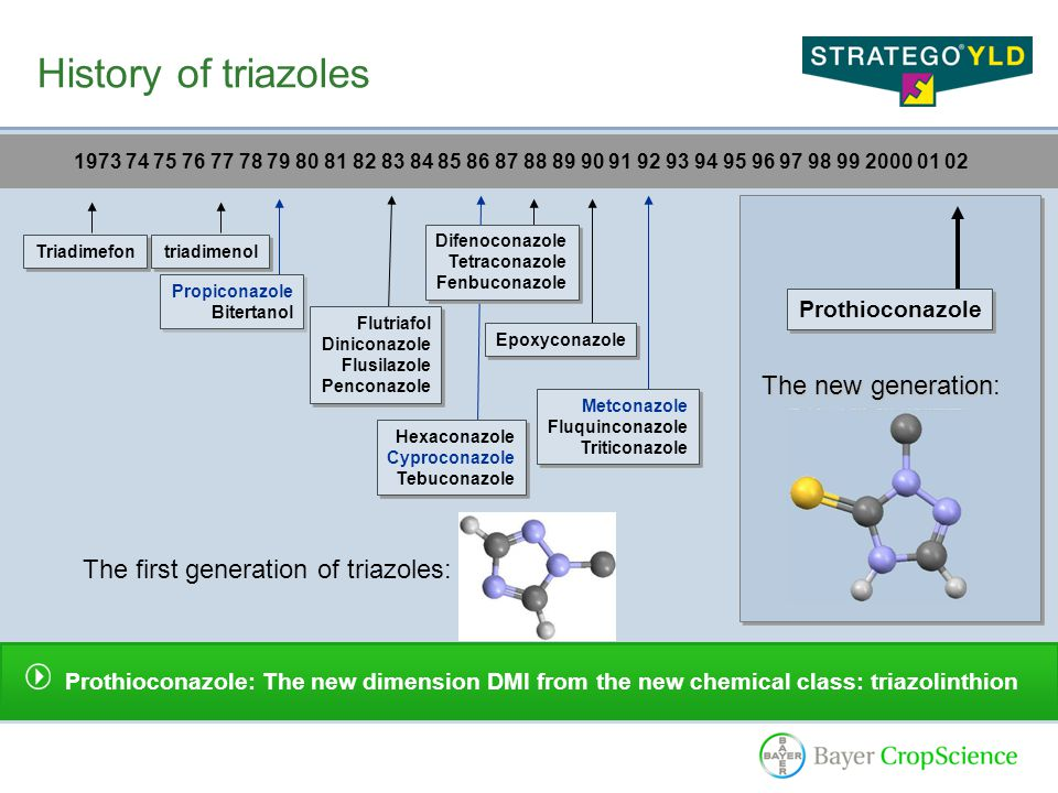History of triazoles 1973 74 75 76 77 78 79 80 81 82 83 84 85 86 87 88 89 90 91 92 93 94 95 96 97 98 99 2000 01 02 Prothioconazole: The new dimension DMI from the new chemical class: triazolinthion Triadimefon triadimenol Propiconazole Bitertanol Propiconazole Bitertanol Flutriafol Diniconazole Flusilazole Penconazole Flutriafol Diniconazole Flusilazole Penconazole Hexaconazole Cyproconazole Tebuconazole Hexaconazole Cyproconazole Tebuconazole Difenoconazole Tetraconazole Fenbuconazole Difenoconazole Tetraconazole Fenbuconazole Epoxyconazole Metconazole Fluquinconazole Triticonazole Metconazole Fluquinconazole Triticonazole Prothioconazole The first generation of triazoles: The new generation: