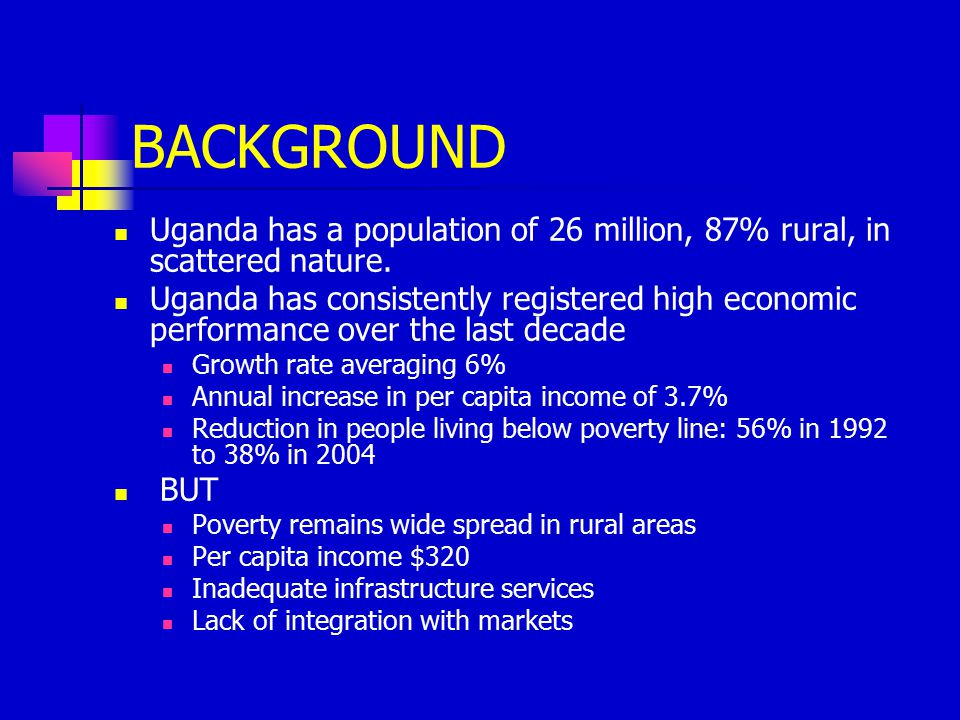 Energy Situation In Uganda Biomass represents 93% of the national energy balance lowest per capita consumption of commercial energy in Africa energy demand growing oil products imported (100%) renewable energies are abundant but not largely disseminated electricity load shedding and low electrification rate 9% constrain the economic and social development