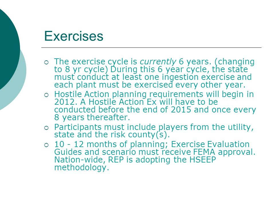 Exercises  The exercise cycle is currently 6 years.