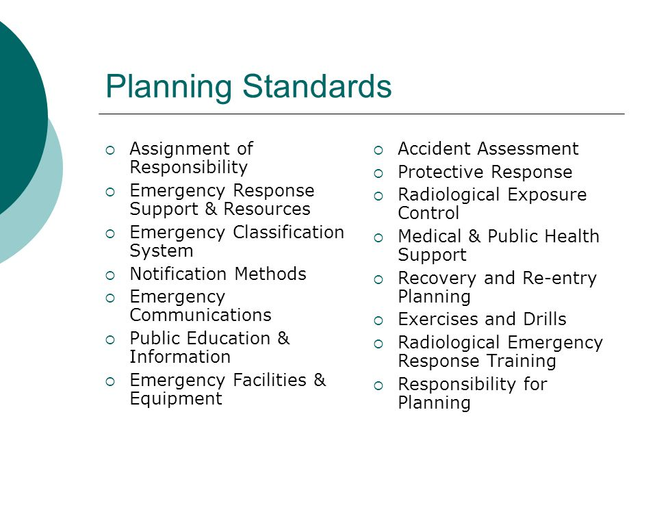 Planning Standards  Assignment of Responsibility  Emergency Response Support & Resources  Emergency Classification System  Notification Methods  Emergency Communications  Public Education & Information  Emergency Facilities & Equipment  Accident Assessment  Protective Response  Radiological Exposure Control  Medical & Public Health Support  Recovery and Re-entry Planning  Exercises and Drills  Radiological Emergency Response Training  Responsibility for Planning