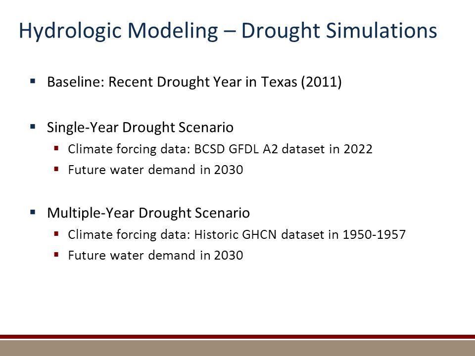 Hydrologic Modeling – Drought Simulations  Baseline: Recent Drought Year in Texas (2011)  Single-Year Drought Scenario  Climate forcing data: BCSD GFDL A2 dataset in 2022  Future water demand in 2030  Multiple-Year Drought Scenario  Climate forcing data: Historic GHCN dataset in 1950-1957  Future water demand in 2030