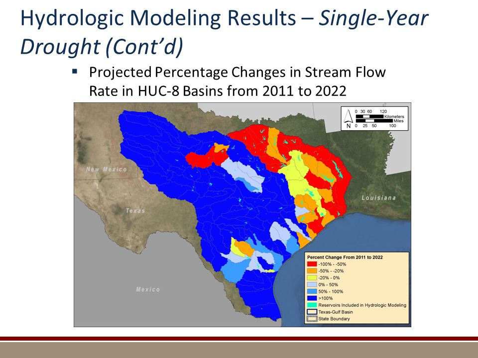 Hydrologic Modeling Results – Single-Year Drought (Cont'd)  Projected Percentage Changes in Stream Flow Rate in HUC-8 Basins from 2011 to 2022