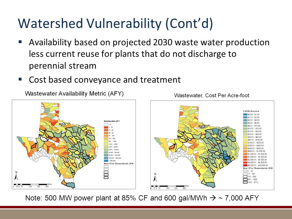 Watershed Vulnerability (Cont'd)  Availability based on projected 2030 waste water production less current reuse for plants that do not discharge to perennial stream  Cost based conveyance and treatment Note: 500 MW power plant at 85% CF and 600 gal/MWh  ~ 7,000 AFY