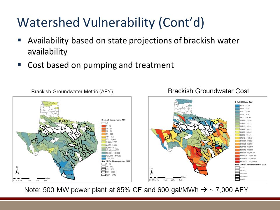 Watershed Vulnerability (Cont'd)  Availability based on state projections of brackish water availability  Cost based on pumping and treatment Note: 500 MW power plant at 85% CF and 600 gal/MWh  ~ 7,000 AFY