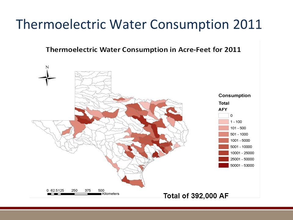 Thermoelectric Water Consumption 2011 Total of 392,000 AF