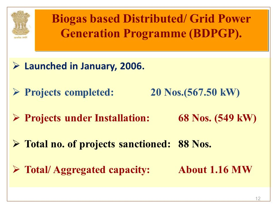 12  Launched in January, 2006.  Projects completed: 20 Nos.(567.50 kW)  Projects under Installation: 68 Nos. (549 kW)  Total no. of projects sanct