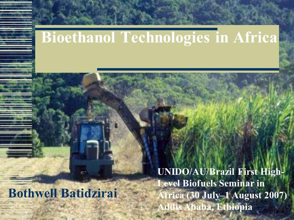 Bioethanol Technologies in Africa Bothwell Batidzirai UNIDO/AU/Brazil First High- Level Biofuels Seminar in Africa (30 July–1 August 2007) Addis Ababa