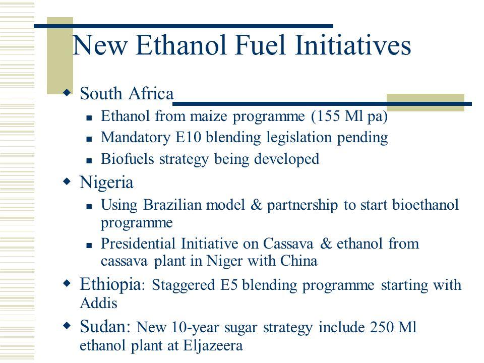 New Ethanol Fuel Initiatives  South Africa Ethanol from maize programme (155 Ml pa) Mandatory E10 blending legislation pending Biofuels strategy bein