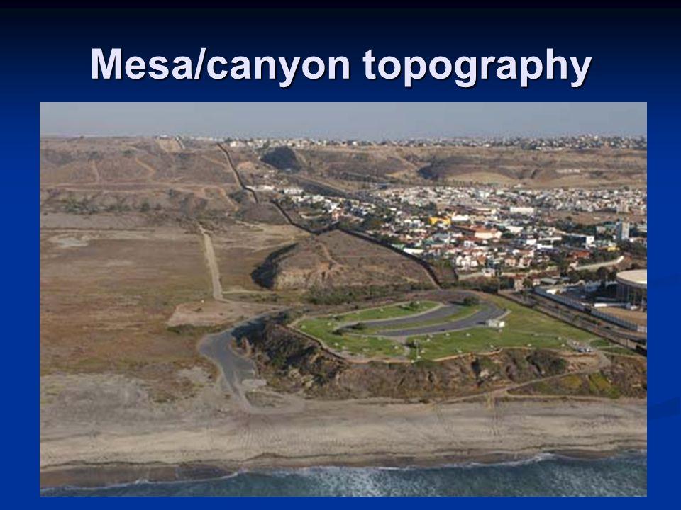 Mesa/canyon topography