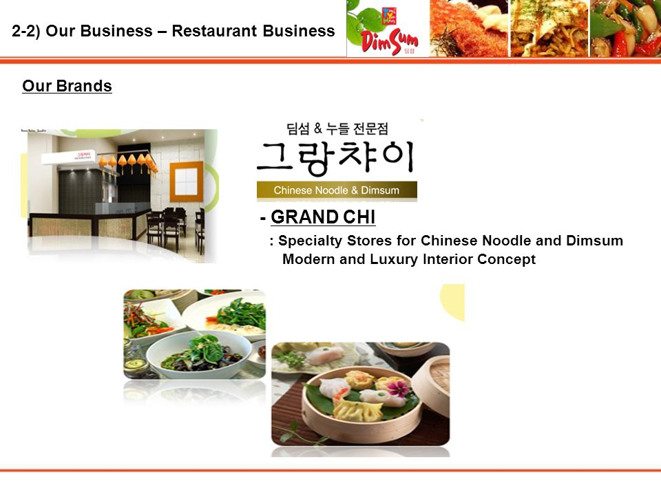 2-2) Our Business – Restaurant Business Our Brands - GRAND CHI : Specialty Stores for Chinese Noodle and Dimsum Modern and Luxury Interior Concept