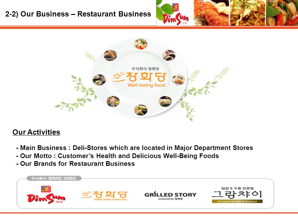 2-2) Our Business – Restaurant Business Our Activities - Main Business : Deli-Stores which are located in Major Department Stores - Our Motto : Customer's Health and Delicious Well-Being Foods - Our Brands for Restaurant Business