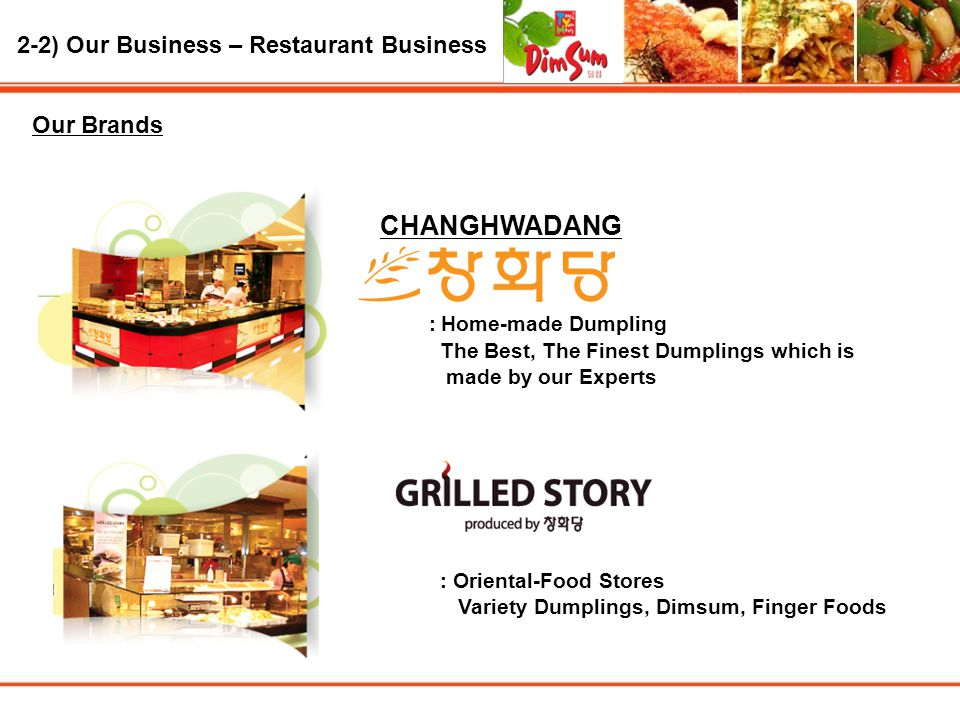 2-2) Our Business – Restaurant Business Our Brands CHANGHWADANG : Home-made Dumpling The Best, The Finest Dumplings which is made by our Experts : Oriental-Food Stores Variety Dumplings, Dimsum, Finger Foods