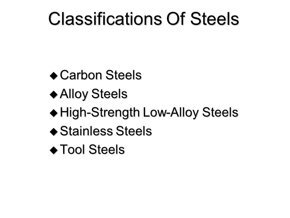 Classifications Of Steels  Carbon Steels  Alloy Steels  High-Strength Low-Alloy Steels  Stainless Steels  Tool Steels
