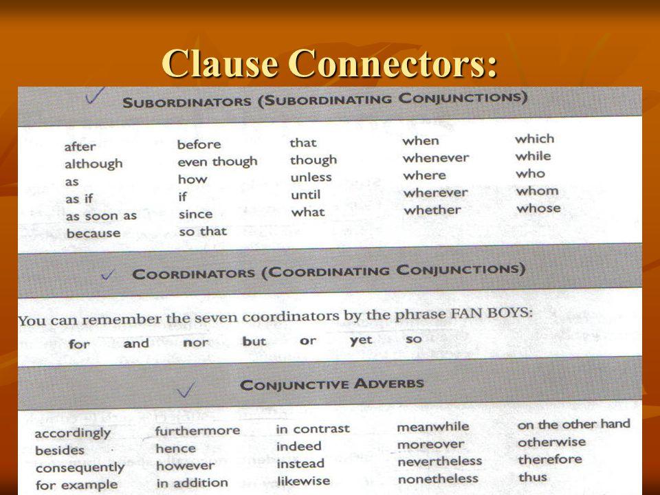 Clause Connectors:
