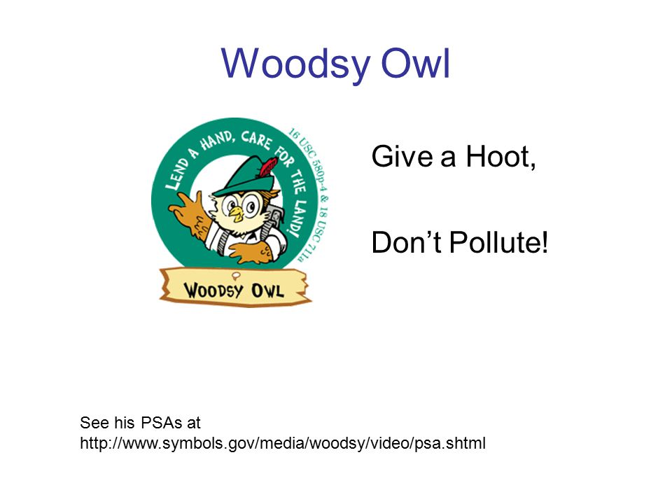 Woodsy Owl Give a Hoot, Don't Pollute.