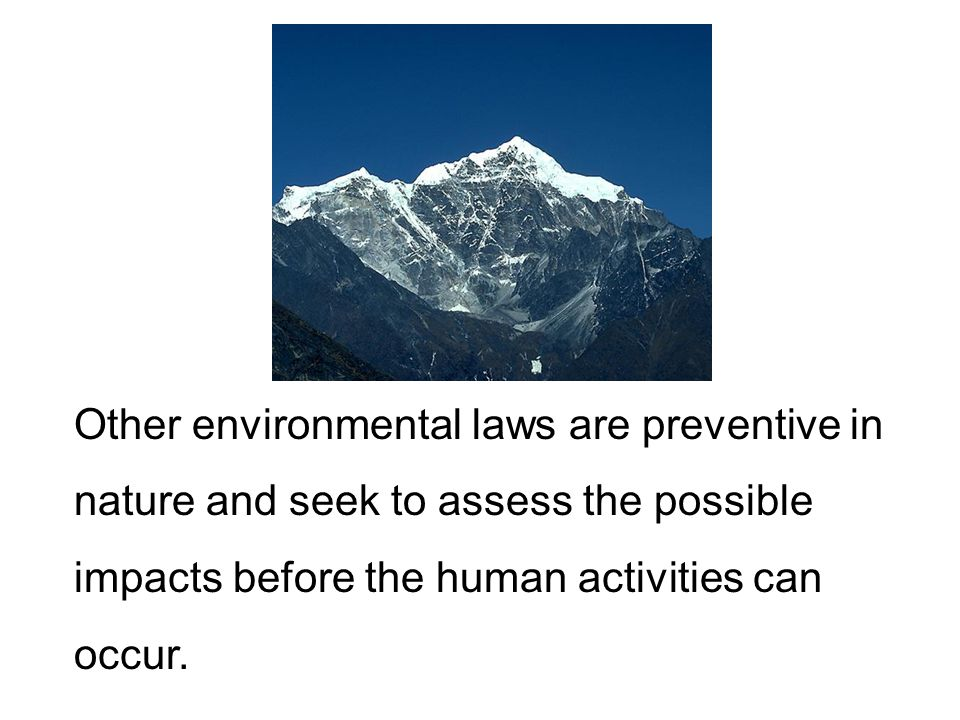 Other environmental laws are preventive in nature and seek to assess the possible impacts before the human activities can occur.